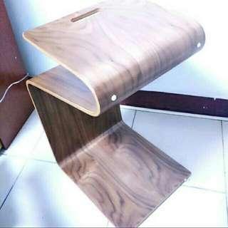 曲木實木桌-胡桃色