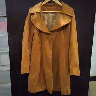 棕色單釦大衣修身長版外套