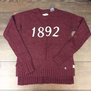 A&F 深紅色毛衣 經典款 xs號一件