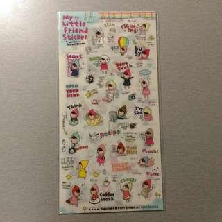 🔅免運🔅 韓國 My Little Friend Sticker 小水滴頭巾女孩的生活記事 可愛貼紙