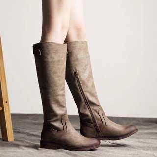 1118 歐美平底長筒靴顯瘦套筒長靴