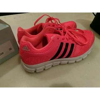 🙋正版Adidas愛迪達Running螢光橘紅慢跑鞋