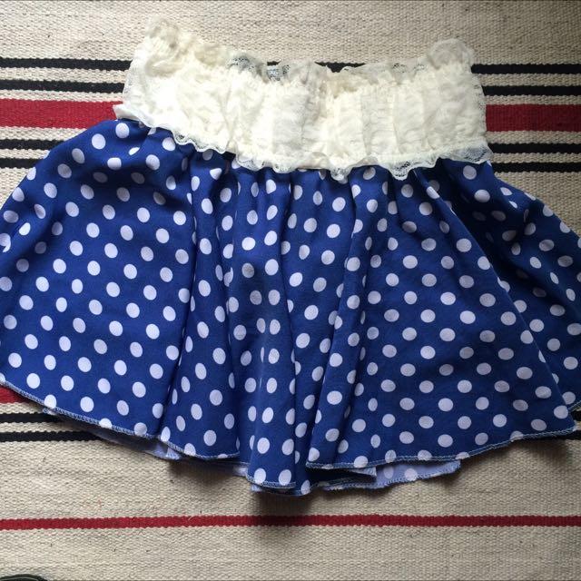 藍色圓點褲裙(免運費)