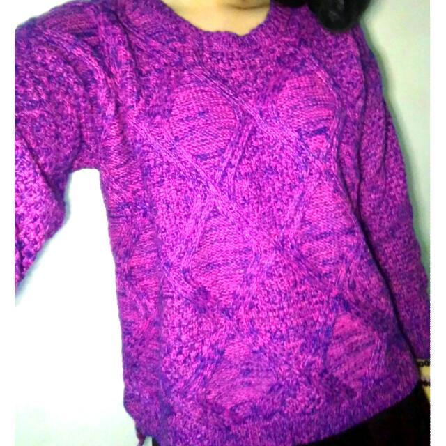 (含運)桃紫色系混色針織毛衣