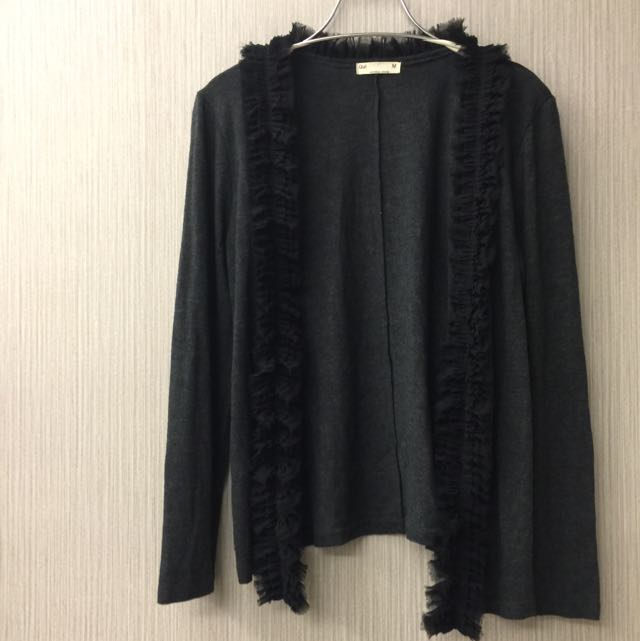 正韓深灰花邊長袖薄罩衫小外套