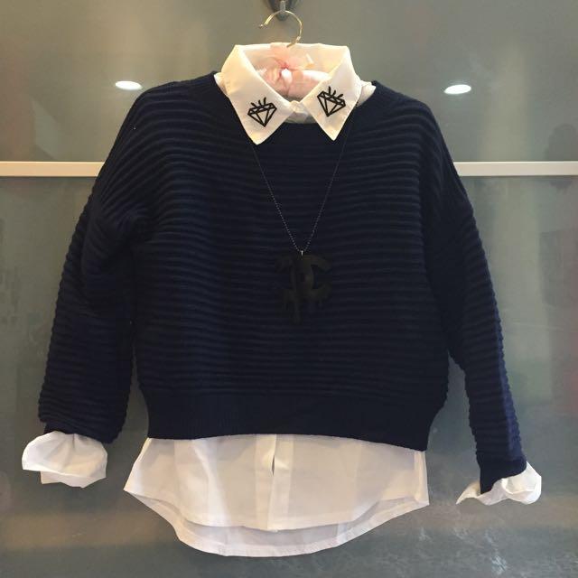 新款學院風好質感繭型落肩立體條紋 短版圓領毛衣