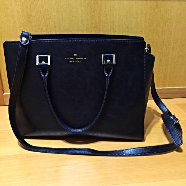 韓製 黑色質感紋路皮質手提肩背兩用包