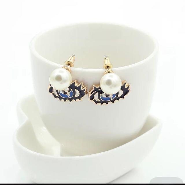 歐美飾品 韓版眼睛耳環 寶石珍珠耳釘