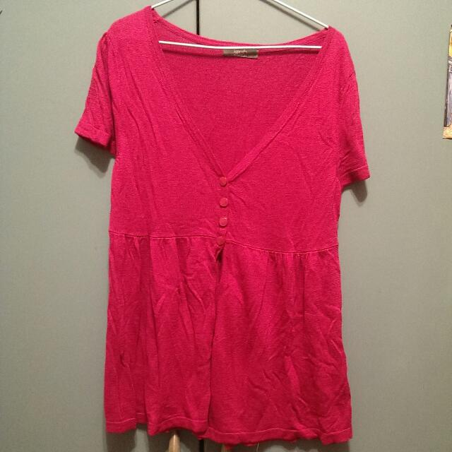 紫紅色 短袖 針織衫