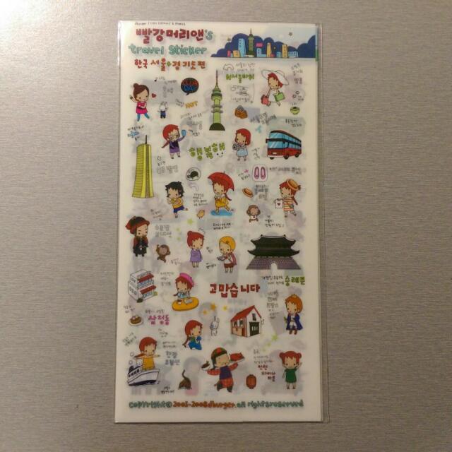 🔅免運🔅 韓國 環遊世界女孩的旅遊記事 可愛逗趣貼紙