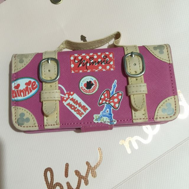 日本迪士尼帶回 iPhone5 4.7米妮行李提袋手機殼
