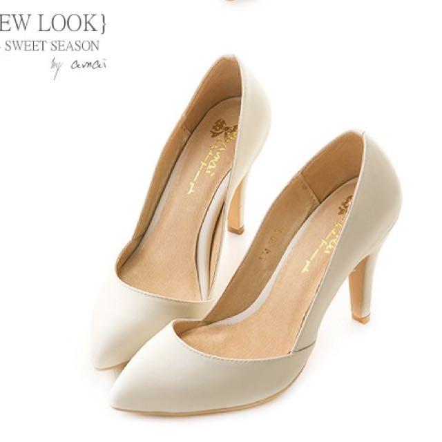 Amai法式低口尖頭高跟鞋 歐美白