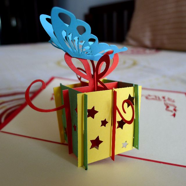 Hand Made Butterfly Giftbox Birthday Card Free Shipping Design