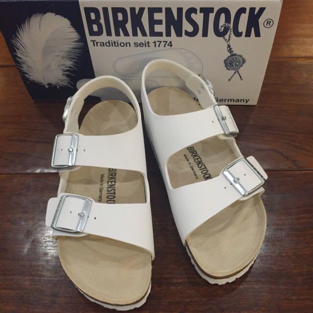 德國Birkenstock 勃肯白色涼鞋(Milano 款)