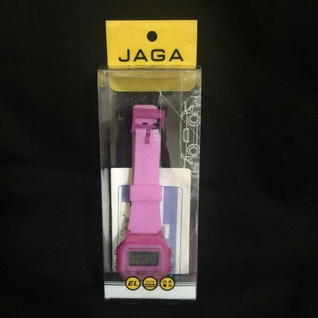 [全新]JAGA桃紅色電子錶