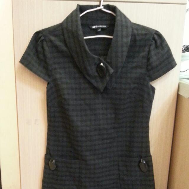 NET格子洋裝連身裙