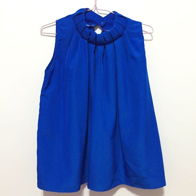 Royal Blue Chiffon Top