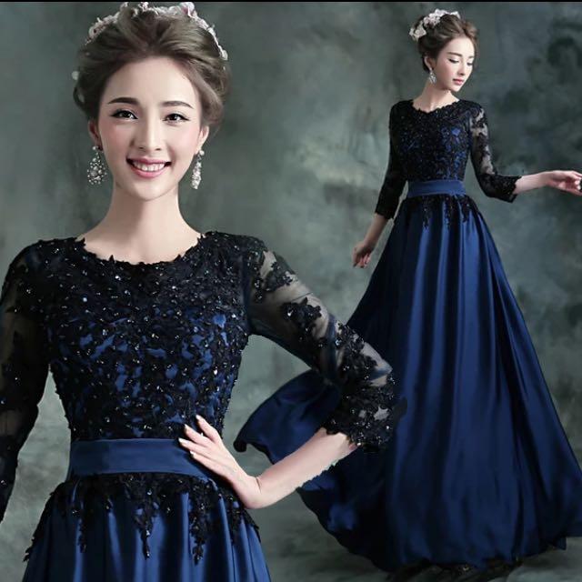 Sleeved Navy Blue Evening Gown BN