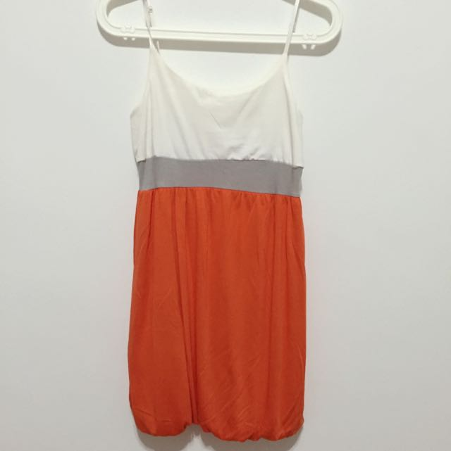 White/Orange Spag Dress