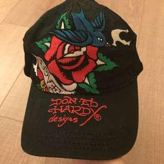 二手正品ED HARDY黑色刺繡玫瑰棒球帽