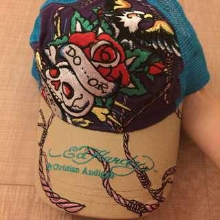 二手正品Ed Hardy藍色骷髏頭刺繡網帽棒球帽
