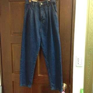 藍色 高腰打折 牛仔寬褲 #高磅數