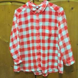 Uniqlo 紅白格子襯衫 雪紡紗