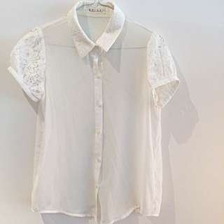 Lace Collared Blouse/button-up Shirt
