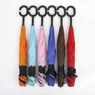 團購熱賣 C型傘可站立 新一代 雙層 上收傘 反向傘 概念傘 神美傘 傘的革命 共6色免運 任選2隻1500$ 不買會後悔哦!