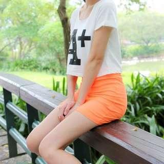 韓風彈性橘窄裙