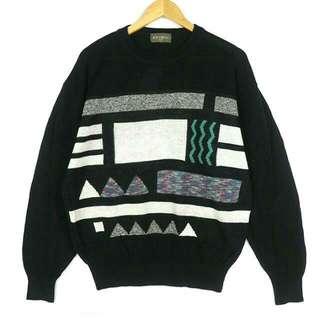 ☞日本幾何高設計渲染三角形F17☞grand grand復古VINTAGE古著毛衣