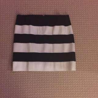 Black And White Striped Bandaged Skirt