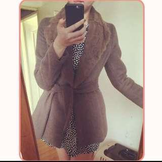 韓國 兔毛領大衣外套 可可色