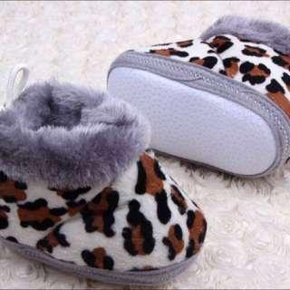 豹紋毛毛防滑學步鞋