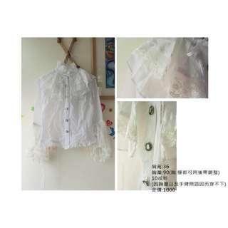 [苗繪二手屋]蘿莉塔 蕾絲 襯衫 哥德風 白色