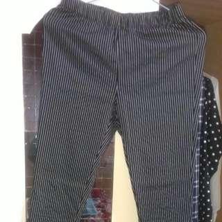 LATIVE 條紋長褲 鬆緊腰圍  窄管 小腳