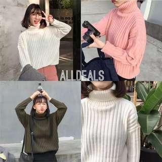 全新韓版4色素色高領針織毛衣✨