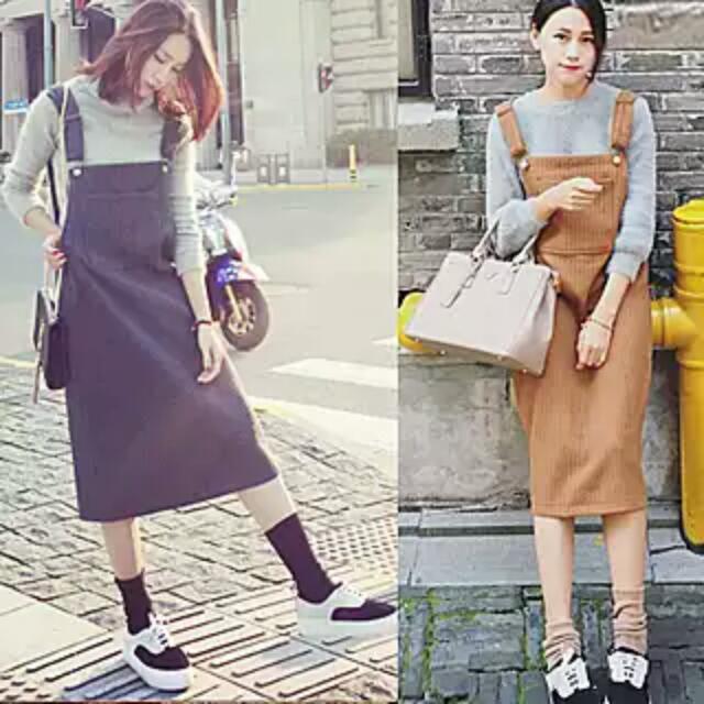韓國燈芯絨吊帶裙
