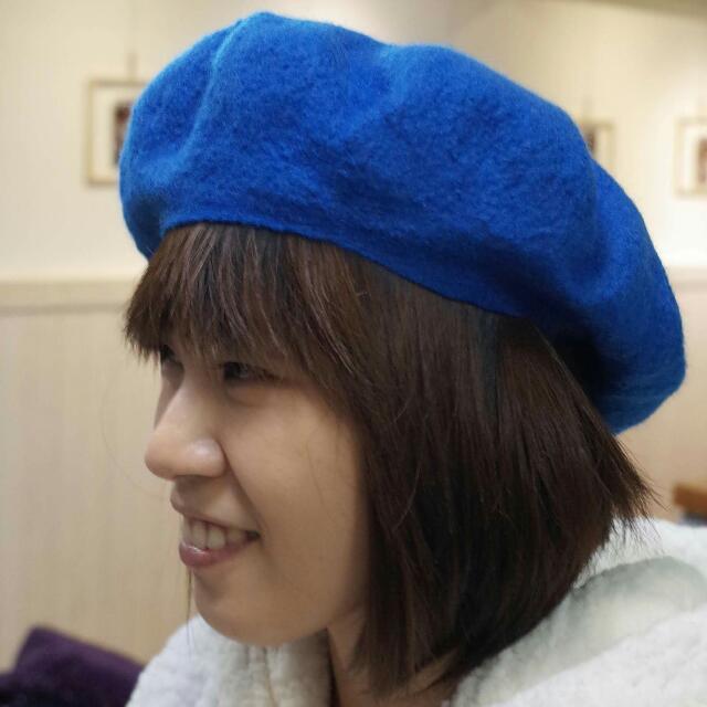 (手作品)寶藍色美麗諾羊毛貝蕾帽