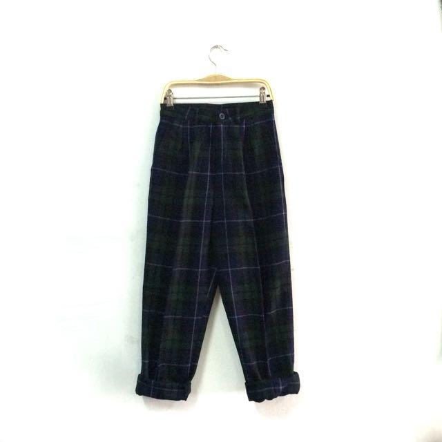 毛料格紋褲
