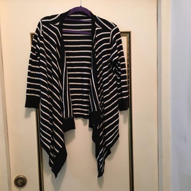 七分袖條紋外罩衫