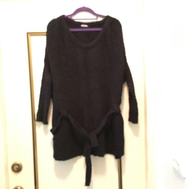 蝙蝠袖長版綁帶毛衣