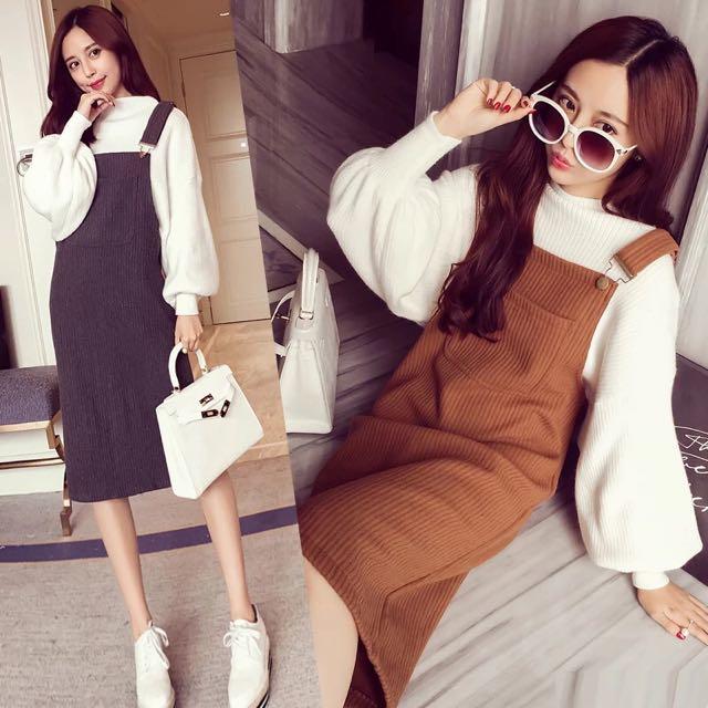冬款韓版顯瘦針織口袋吊帶裙