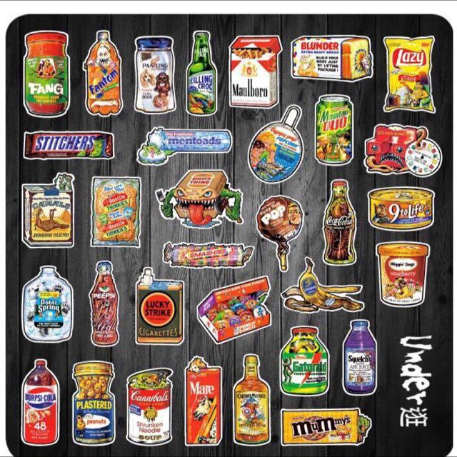 (現貨)垃圾食物 防水貼紙