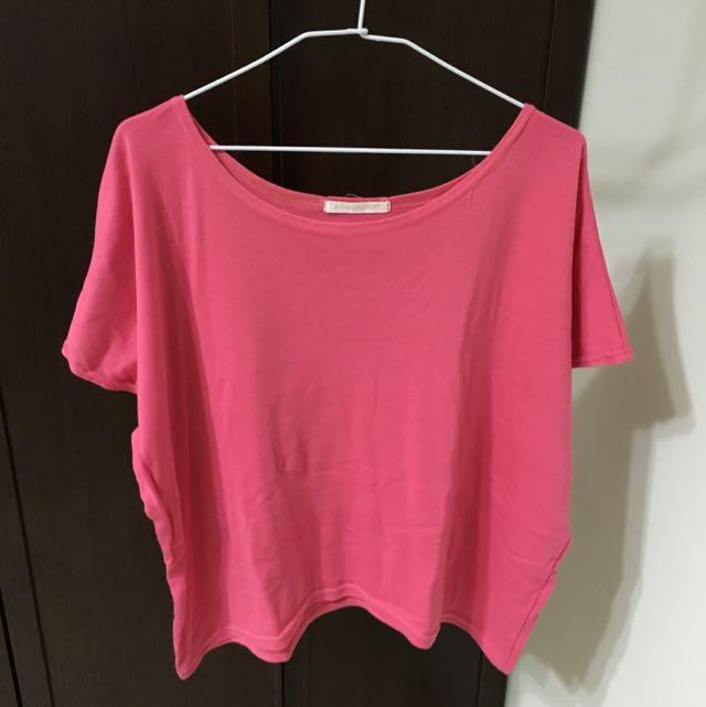 桃紅色 短袖 寬鬆上衣