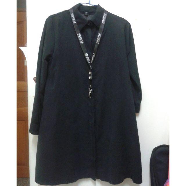 (含運) 黑襯衫 外搭中長襯衫 (掛帶&十字項鍊僅為穿搭照用,非賣)