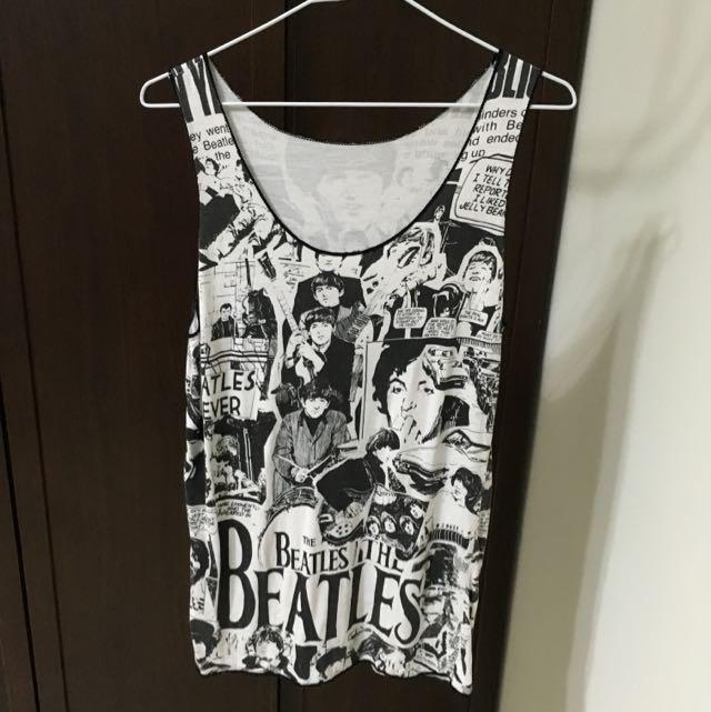 滿版圖案 披頭四 BEATLES 搖滾風 ROCK 背心上衣