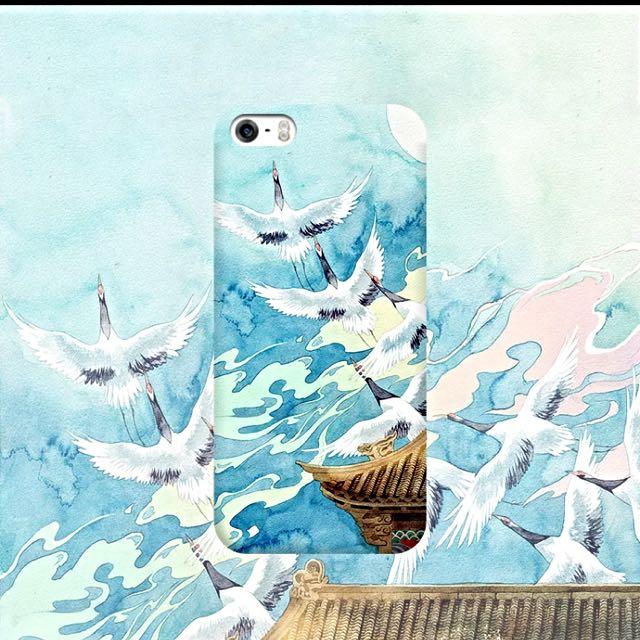 和風仙鶴文藝手機殼 磨砂質感 軟殼 iphone6 6s 6plus