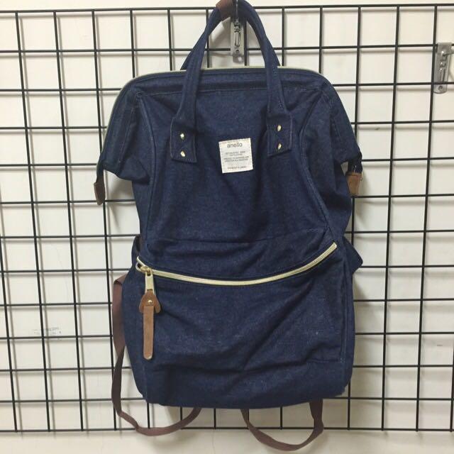 [保留][二手七成新]Anello 大容量藍色丹寧後背包