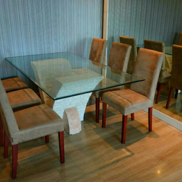 Designer Glass Top Dining Table 8 Seater Furniture On Carousell